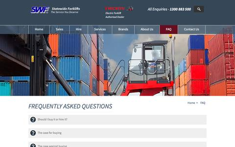 Screenshot of FAQ Page statewideforklifts.com.au - Frequently Asked Questions - captured Dec. 11, 2016