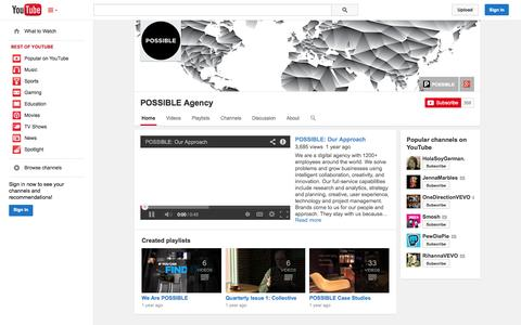 Screenshot of YouTube Page youtube.com - POSSIBLE Agency  - YouTube - captured Oct. 22, 2014