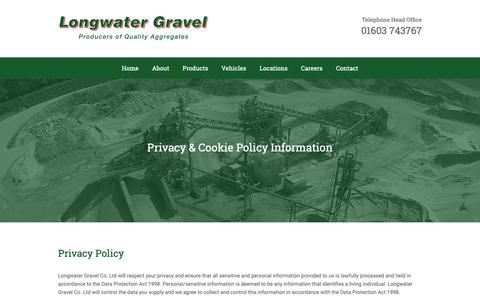 Screenshot of Privacy Page longwatergravel.co.uk - Privacy Policy - captured Nov. 11, 2018