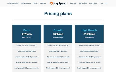 Screenshot of Pricing Page brightpearl.com - Brightpearl Software Pricing - Brightpearl - captured Sept. 8, 2016