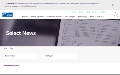 Screenshot of Press Page argusmedia.com - Select News | Argus Media - captured Nov. 6, 2018
