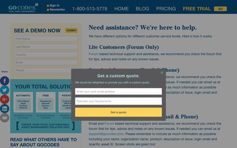 Screenshot of Support Page gocodes.com - Support & Assistance / - captured Nov. 11, 2016