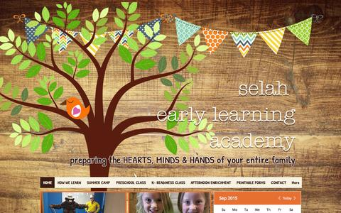 Screenshot of Home Page selahbozeman.com - Selah Early Learning Academy - captured Sept. 18, 2015