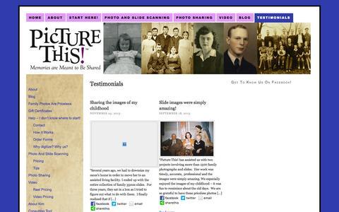 Screenshot of Testimonials Page picturethisaustin.com - Testimonials - captured Oct. 2, 2014