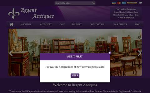 Screenshot of Home Page regentantiques.com - Regent Antiques - Premier Antique Furniture Retailer - captured June 7, 2019