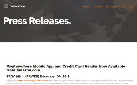 Screenshot of Press Page payanywhere.com - PayAnywhere Mobile App and Credit Card Reader Now Available from Amazon.com | PayAnywhere - captured Sept. 28, 2018