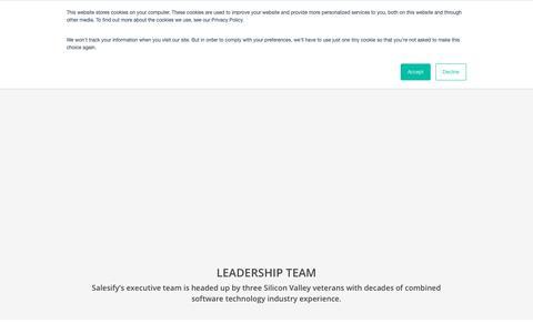 Screenshot of Team Page salesify.com - Executive Team - Salesify - captured Nov. 19, 2018