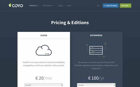 Screenshot of Pricing Page coyoapp.com - Pricing & Editions - captured Jan. 23, 2017