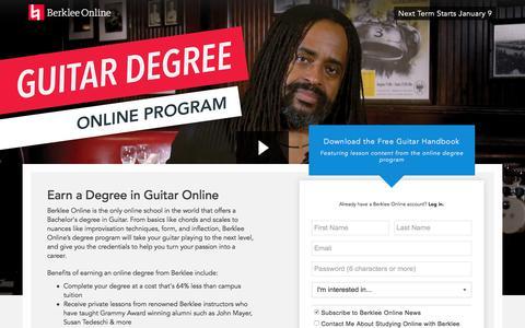 Screenshot of Landing Page berklee.edu - Earn a Degree in Guitar Online with Berklee - captured Oct. 20, 2016