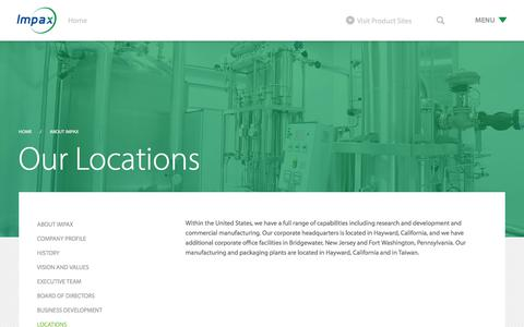 Screenshot of Locations Page impaxlabs.com - Locations - Impax Laboratories, Inc. - captured Oct. 14, 2017
