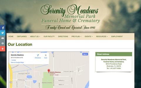 Screenshot of Maps & Directions Page serenitymeadows.com - Serenity Meadows Memorial Park, Funeral Home, & Crematory | Riverview FL funeral home and cremation - captured Oct. 29, 2014