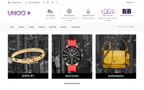 Screenshot of Home Page unoo.ae - Buy Designer handbags | Michael Kors Handbags | Kate Spade handbags - captured Sept. 5, 2015