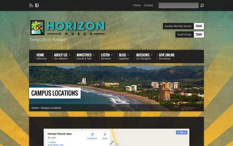 Screenshot of Locations Page horizonjaco.org - Campus Locations - Horizon Church Jaco - captured Jan. 31, 2016