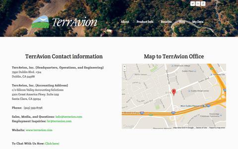 Screenshot of Contact Page terravion.com - Contact - TerrAvion - captured Sept. 25, 2014