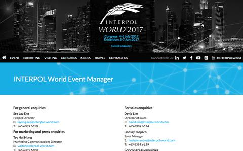 Screenshot of Contact Page interpol-world.com - INTERPOL World Event Manager | INTERPOL World 2017 - captured Feb. 15, 2018