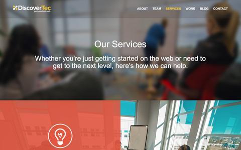 Screenshot of Services Page discovertec.com - Web Design Services, Development and SEO - captured Jan. 7, 2016