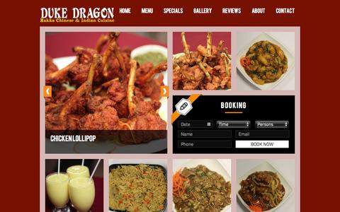 Screenshot of Home Page dukedragon.com - Hakka Chinese, Thai and Indian Restaurant in Mississauga | Duke Dragon - captured Sept. 30, 2014
