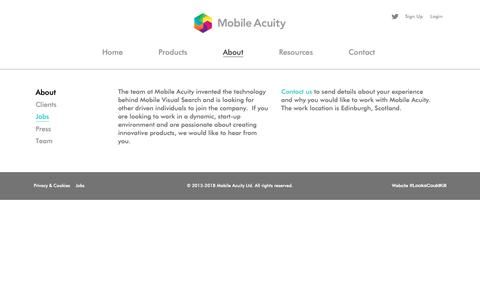Screenshot of Jobs Page mobileacuity.com - Mobile Visual Search - captured Oct. 20, 2018