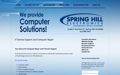 Screenshot of Home Page springhillelectronics.com - Spring Hill Electronics - Computer repair and services - captured Oct. 7, 2014