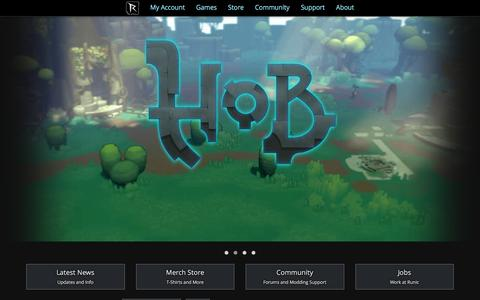 Screenshot of Home Page runicgames.com - Runic Games | Home - captured July 3, 2016