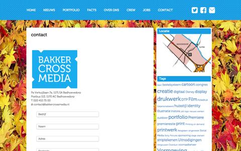 Screenshot of Contact Page bakkercrossmedia.nl - contact - Bakker CrossMediaBakker CrossMedia - captured Sept. 30, 2014