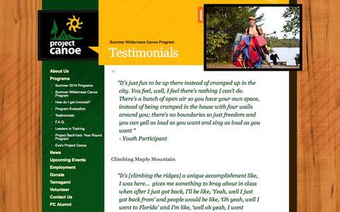 Screenshot of Testimonials Page canoe.org - Project Canoe » Testimonials - captured Oct. 2, 2014