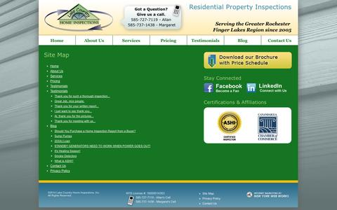 Screenshot of Site Map Page lakecountryhomeinspections.com - Site Map - Lake Country Home Inspections - captured Oct. 1, 2014
