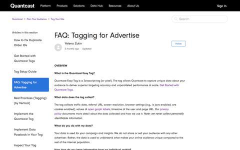 Screenshot of FAQ Page quantcast.com - FAQ: Tagging for Advertise – Quantcast - captured Nov. 18, 2019