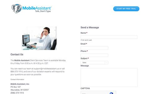 Screenshot of Contact Page mobileassistant.us - Contact Us - Mobile Dictation Service by Mobile Assistant - captured Nov. 2, 2019