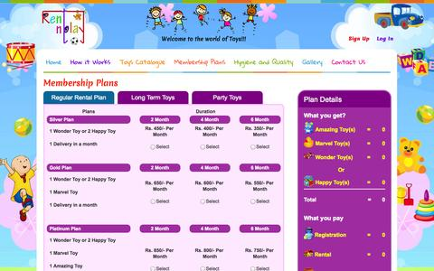 "Screenshot of Signup Page rentnplay.in - Rent-N-Play ""A World of Toys"" Indore - captured Oct. 26, 2014"