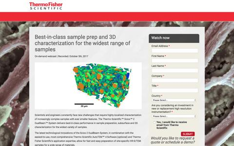 Screenshot of Landing Page thermofisher.com - Webcast: Best-in-class sample prep and 3D characterization for widest range of samples |Thermo Fisher Scientific - captured April 1, 2018