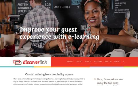Screenshot of Home Page discoverlink.com - DiscoverLink | Custom training from hospitality experts - captured Sept. 30, 2014