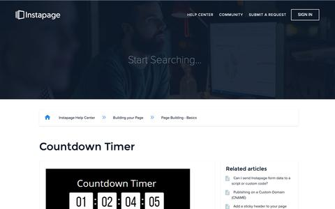 Screenshot of Support Page instapage.com - Countdown Timer – Instapage Help Center - captured Nov. 9, 2018