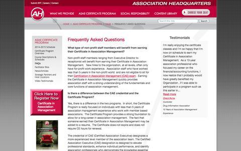 Screenshot of FAQ Page associationheadquarters.com - FAQ: Certificate in Association Management   Association Headquarters - captured Oct. 10, 2014