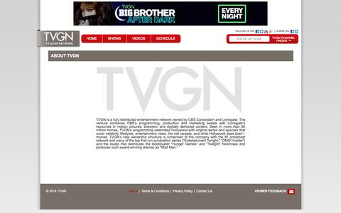 Screenshot of About Page tvgn.tv - TV Guide Network - TVGN.tv - captured Sept. 19, 2014