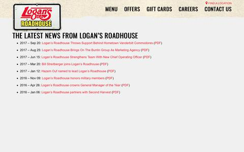 Screenshot of Press Page logansroadhouse.com - News and Press Releases | Logan's Roadhouse - captured Dec. 2, 2017