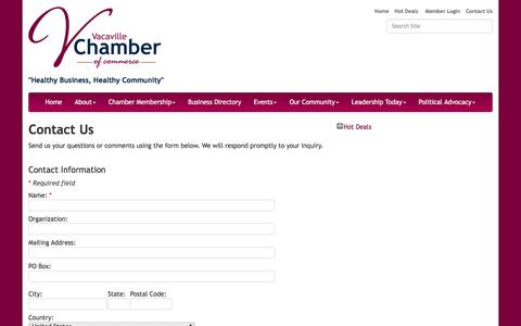 Screenshot of Contact Page vacavillechamber.com - Contact Us - Vacaville Chamber of Commerce, CA - captured Nov. 28, 2016