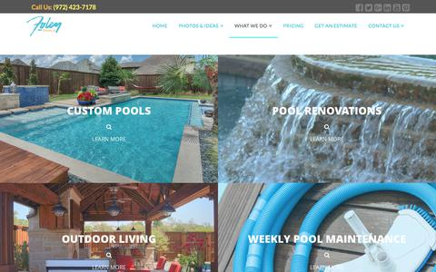 Screenshot of Services Page foleypools.com - Pool Contractor Services | Foley Pools (972) 423-7178 - captured June 6, 2017