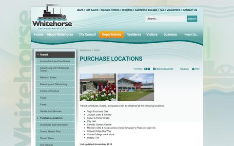 Screenshot of Locations Page whitehorse.ca - Purchase Locations | Whitehorse, YT - captured Nov. 10, 2018