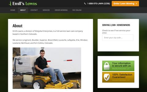 Screenshot of About Page emilslawns.com - The Emil Motycka Story · About · Emil's Lawns - captured Sept. 29, 2014