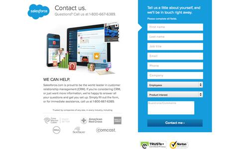 Screenshot of Contact Page salesforce.com - Contact a salesforce.com Support or Sales Representative - Salesforce.com - captured Oct. 10, 2014