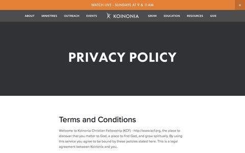 Screenshot of Privacy Page kcf.org - Privacy Policy — Koinonia Christian Fellowship - captured Oct. 17, 2017