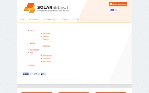 Screenshot of Site Map Page solarselect.nl - Sitemap - SOLARSELECT - captured Oct. 1, 2014
