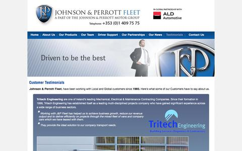 Screenshot of Testimonials Page jpfleet.ie - Customer Testimonials - Johnson & Perrott Motor Group - The Fleet Management Specialists - Contract Hire, Lease and Fleet Management - captured July 5, 2017