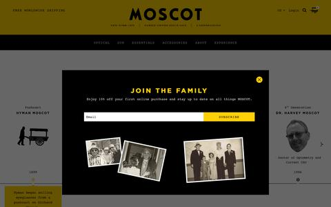 Screenshot of About Page moscot.com - The MOSCOT Story | Family Owned & Operated in NYC since 1915 - captured Sept. 24, 2018