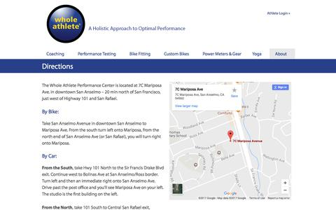 Screenshot of Maps & Directions Page wholeathlete.com - Directions to Whole Athlete - captured June 17, 2017