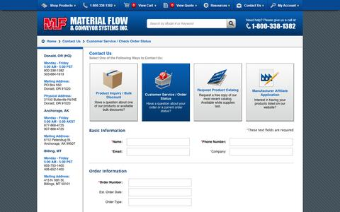 Screenshot of Support Page materialflow.com - Contact Us - captured Sept. 30, 2014