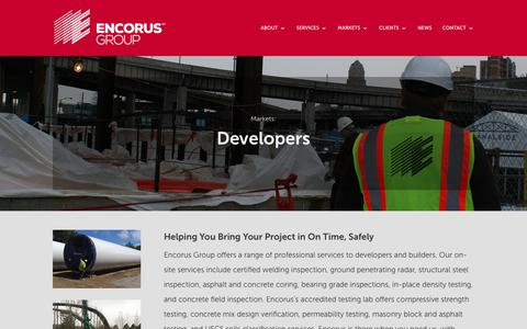 Screenshot of Developers Page encorus.com - DEVELOPERS | Encorus Group - captured Oct. 18, 2018