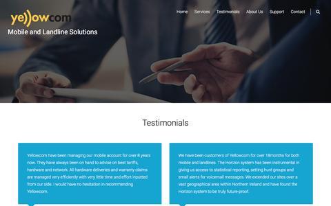 Screenshot of Testimonials Page yellowcom.co.uk - Testimonials – Mobile and Landline Solutions - captured Nov. 28, 2016