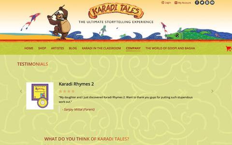 Screenshot of Testimonials Page karaditales.com - TESTIMONIALS – KARADI TALES - captured Oct. 16, 2017